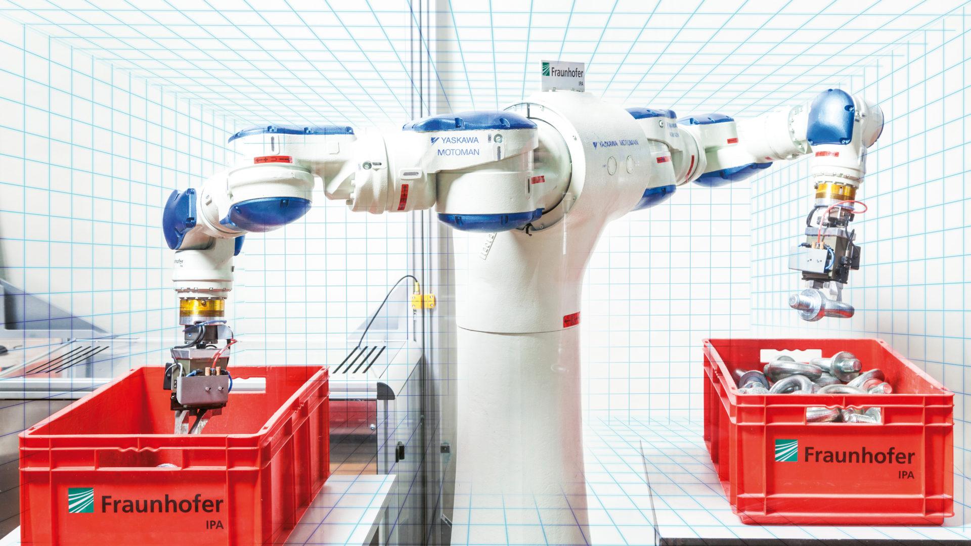 Roboter greift Bauteile aus einer Kiste