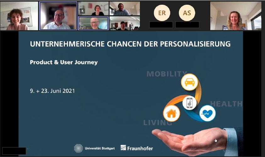 Screenshot von einem Online-Workshop des Leistungszentrums Mass Personalization